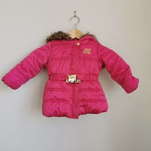 Juicy Couture Pink Puffer Coat With Faux Fur Trim